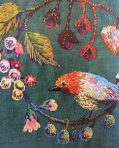 "4,260 Likes, 25 Comments - E M B R O I D E R Y (@embroidery) on Instagram: ""@kimikahara 🐦🌸 (from the Stitch Show book) 🍃🌹 • #embroidery #handembroidery #modernembroidery…"""