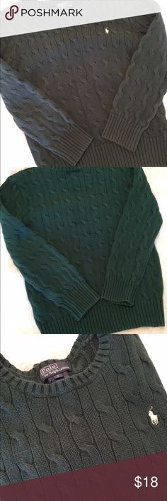 🆕Listing Boy's Hunter Green L/S CableKnit Sweater Boy's hunter green long sleeve cable knit Polo by Ralph Lauren sweater. Size 7. TTS. A little faded but still in great condition. One string hanging under arm as shown. ❌NO TRADES ❌NO LOWBALLING❌ Polo by Ralph Lauren Shirts & Tops Sweaters