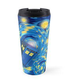 Blue Phone box Starry the night Travel Mugs #mugs #travelmugs #tardis #doctorwho #vangogh #starrynight #phonebooth