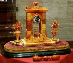 Amber clock that was in The Amber Room in the Catherine Palace of Tsarskoye Selo