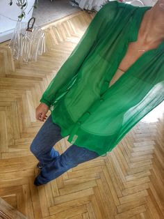 Silk Shirt green Chiffon laura hincu private Fashioning