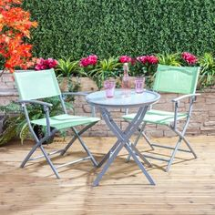 Bistro Set with Folding Armchairs (Green) British Garden, Bistro Set, Outdoor Furniture Sets, Outdoor Decor, Cool Chairs, Chair Covers, Adirondack Chairs, Outdoor Living, Garden Design