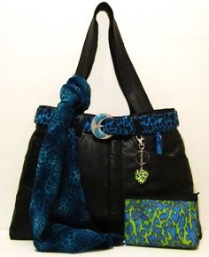 Blue Leopard Accents for Black Leather Bag designed from recycle jeans. http://HaveHeartDaily.net
