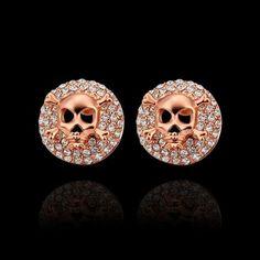 Rose Gold Skeleton Stud Earrings with Rhinestones