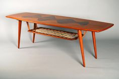 Teak and Inlaid Rosewood Top Coffee Table with gut-strung shelf by Ingvard Jensen ca.1950's