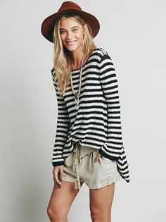 Free People Counting Stripes Swing Tunic Sweater Black Ivory Combo $118 NWT Larg #FreePeople #Tunic