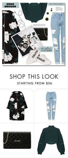 """#266)DARK FLORAL- 3in1"" by fashion-unit ❤ liked on Polyvore featuring Marni, Topshop, Love Moschino, Alexander McQueen, denim, sundance, distresseddenim, darkflorals and WinterLayers"
