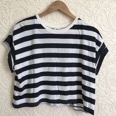 a977129d9f7c Black and white striped crop top from H&M. Never worn, still has the lil.  Depop
