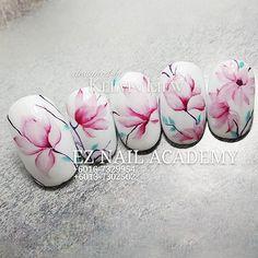 Glam Nails, Pink Nails, Beauty Nails, Swirl Nail Art, Water Color Nails, Nail Stencils, Floral Nail Art, Nail Art Videos, Marble Nails