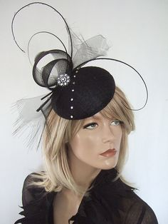 Black with Crystals Button Headpiece Fascinator Dress-2-Impress.com £49.99