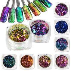 Hot Fashion 1Box Shining Nail Glitter Dust Irregular Chameleon Flake Magic Effect Powder DIY Decoration Dust Tools BEBS07-27