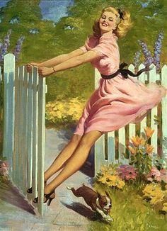 La puerta de mi casa | Art Frahm Pin-Up artist | Ladies in distress
