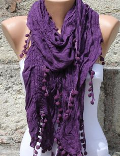 Purple Women Shawl Scarf  Headband Necklace Cowl by fatwoman, $14.90