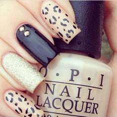#black #leopard #beige nails
