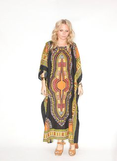 Vintage 70s Dashiki Kaftan Maxi Dress by redpoppyvintageshop, $78.00