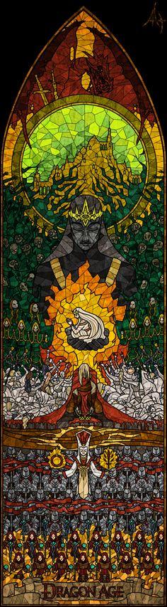 Dragon Age,фэндомы,Создатель (DA),Андрасте,архидемон,маги,храмовники,рисовал сам,витраж