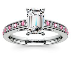 Emerald Cathedral Diamond & Pink Sapphire Gemstone Engagement Ring in Platinum  http://www.brilliance.com/engagement-rings/cathedral-diamond-pink-sapphire-gemstone-ring-platinum