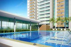 Perspectiva da piscina climatizada e piscina coberta aquecida