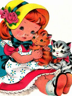 A Little Girls Kittens 1950s Vintage Greetings Card Digital Download Printable Images (138)