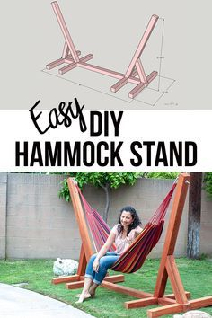 Easy DIY Hammock Stand Using 3 Tools - Full Tutorial, Video and Plans - DIY Projects This is so easy and awesome! Easy and simple DIY Hammock stand! How to build a wooden hammock stand. There are plans, video and a full tutorial to make this! Diy Garden Furniture, Diy Outdoor Furniture, Furniture Ideas, Modern Furniture, Outdoor Decor, Diy Yard Decor, Diy Porch, Wall Decor, Building Furniture