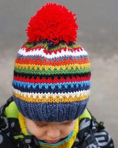 ravelry: scrappy ski hat pattern (free) hat pattern free kids Scrappy Ski Hat pattern by Justyna Lorkowska Baby Knitting Patterns, Knitting For Kids, Loom Knitting, Free Knitting, Knitting Projects, Crochet Patterns, Simple Knitting, Knitted Hats Kids, Baby Hat Patterns