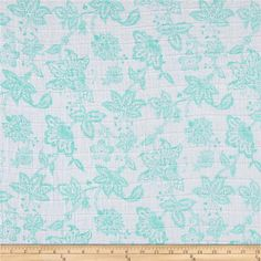 Shannon Embrace Double Gauze Garden Toile Aruba from @fabricdotcom  From Shannon Fabrics, this ultra soft double gauze fabric consists of two layers of gauze tacked together. This fabric features an assortment of leaves in various colors. It is perfect for making popular swaddling blankets, bibs, burp cloths, bedding and baby accessories. Colors include aruba teal and white.