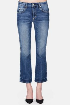 """Named for the Latin root word for love, AMO was created by denim lovers Kelly Urban and Misty Zollars to """"offer jeans that get better with every wear, yet are so comfortable you never want to take them off."""" That promise is fulfilled by the Jane, a new slim-fitting style with a slightly higher rise and a gentle flare at the cropped hem."""