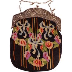 Vintage Floral Abstract Beaded Purse With Loop Fringe