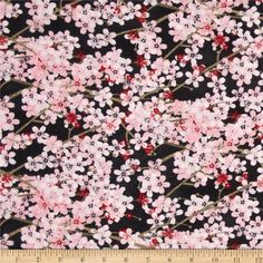 Hanami Falls Packed Cherry Blossoms Black from @fabricdotcom  Designed by Evelia for Wilmington Prints, this cotton print is perfect for quilting, apparel and home decor accents. Colors include pink, red, green and black.