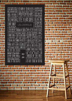 Ode to Zeppelin -- Led Zeppelin Typography poster print, wall art, song catalog on Etsy, $18.00