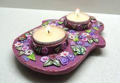 Hamsa candle holder polymer clay hamsa  judaica hamsa by artefyk