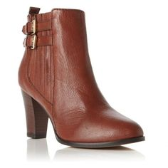 Dune tan pearly double side buckle heeled ankle boot ($160) ❤ liked on Polyvore