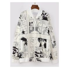 Beige Comic Print Bomber Jacket ($23) ❤ liked on Polyvore featuring outerwear, jackets, bomber jacket, comic book, cartoon jackets, flight jacket and bomber style jacket