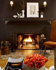 #october2015  #homesweethome #interiordesign #jeffandrewsdesign #darkwalls #fireplace #fall2015 #vignette #livingroom #homedecor #interiors #mantlescape