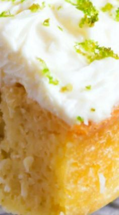 Coconut Key Lime Cake With Cream Cheese Frosting ~ The cake is a cinch to mix up, and you won't believe how delicious the cream cheese frosting is that tops it.