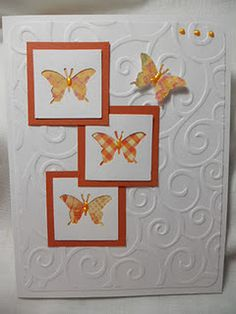 "I see I think I will make this an ATC and have it say ""Live outside the box. Cute Cards, Diy Cards, Card Making Inspiration, Making Ideas, Tarjetas Diy, Square Card, Embossed Cards, Butterfly Cards, Paper Cards"