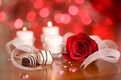 Romance - ribbon, romantic, flower, beautiful, chocolate, valentine day, red rose, romance, photography, valentine, love, candle, rose
