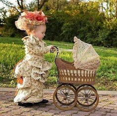Steampunk Tendencies Both is particular outfit/hat, but I LOVE the idea of Adelaide all gussied up and pushing a pram! How fun! Precious Children, Beautiful Children, Beautiful Babies, Funny Kids, Cute Kids, Cute Babies, Little Doll, Little Girls, Kind Photo
