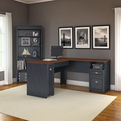 Fairview L Shaped Desk and 5 Shelf Bookcase