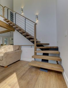 Basement stairs - There is no shortage of stairway design ideas to make your stairway a charming part of your home. Metal Stairs, Wood Staircase, Modern Stairs, Staircase Design, Small Staircase, Staircase Remodel, Staircase Ideas, Stair Dimensions, Stommel Haus