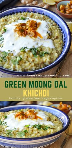 Green Moong Dal Khichdi (healthy, gluten-free, vegan option) – Honey, Whats Cooking Baby Food Recipes, Indian Food Recipes, Dinner Recipes, Healthy Recipes, Fall Recipes, Healthy Meals, Delicious Recipes, Dinner Ideas, Healthy Food