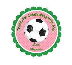 Girl Soccer Birthday Favor Tags DIY Printable by SamSkyeParties, $6.00