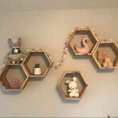 Set of 5 Medium Deep Hexagon Shelves, Honeycomb Shelves, Floating Shelves, Geometric Shelves