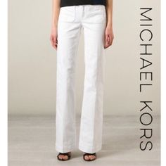 MICHAEL KORS White Wide Leg Jeans NWT Skinnies might be a staple, but a pair with flare will make a noteworthy addition to your wardrobe. Laid-back and leg-lengthening, wide-leg jeans work best with boho-chic platforms and minimal accessories. These gorgeous white denim wide leg jeans by Michael Kors are ready to be yours! Two front and rear pockets, gold metallic MK logo on rear pocket. Zipper fly w/ top button closure. 98% cotton, 2% elastane. Brand new with tags! Measurements (laid flat)…