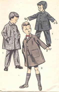 Vtg 50s Boys Childrens Advance Coat, Cap & Pants Sewing Pattern 8499 Size 3  $11.90 Free Ship