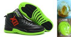 Air Jordan 12 Retro Black Electric Green Jordans Shoes 2013