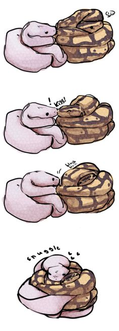 """minibotparty: """"thedoomie: """"after looking at this picture: http://danielle-darling.tumblr.com/post/2949908166 this little drawing came of snakes smooch.. :I """" daggerjaw """" DIS US"""