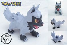 Poochyena is a dark-type and Bite Pokemon that is the pre-evolved for of Mightyena, it resembles a wolf pup. Diy Pokemon, Pokemon Party, Pokemon Birthday, 3d Paper, Paper Toys, Paper Crafts, Papercraft Pokemon, Papercraft Download, Valentine Box