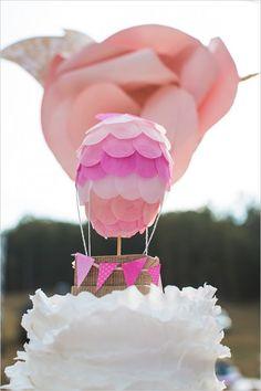 where roses bloom, lauren athalia, wedding chicks,hot air balloon cake topper