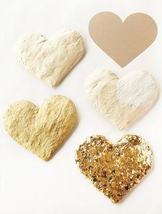 DIY gold sequin hearts. #hearts #gold #sequins